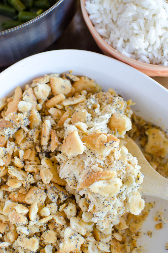 Poppy Seed Chicken is our family favorite casserole served over white rice. This easy Poppy Seed Chicken Casserole is a creamy and delicious meal your entire family will love!