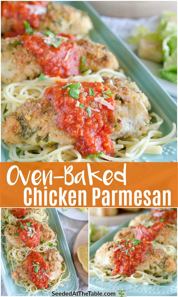 Collage for oven baked chicken parmesan recipe.