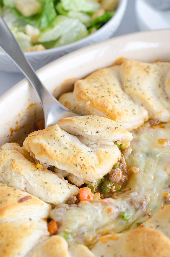 scoop of biscuit casserole