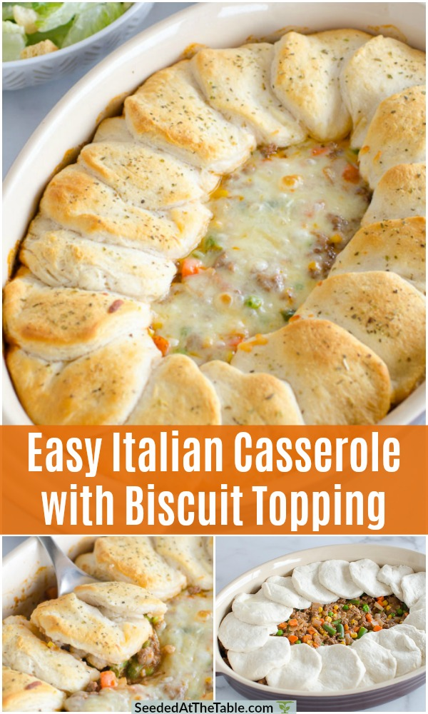 The best family-friendly comfort dish, this Italian ground beef casserole is topped with biscuits for a hearty and filling meal your whole family will love!