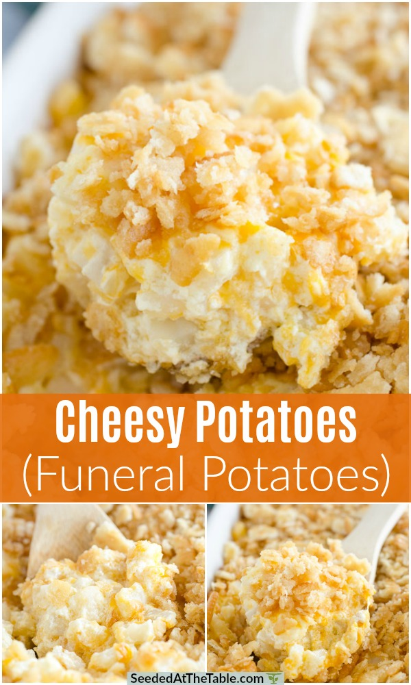 These cheesy potatoes are also called funeral potatoes because they're the perfect comfort dish! This cheesy potato casserole is not only a hit at funerals, but is the best party potatoes for any holiday dinner or potluck!
