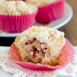 Strawberry Banana Muffins with Streusel Topping from SeededAtTheTable.com