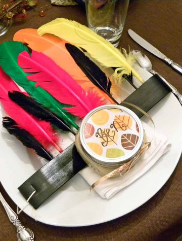 thanksgiving place setting with feathers
