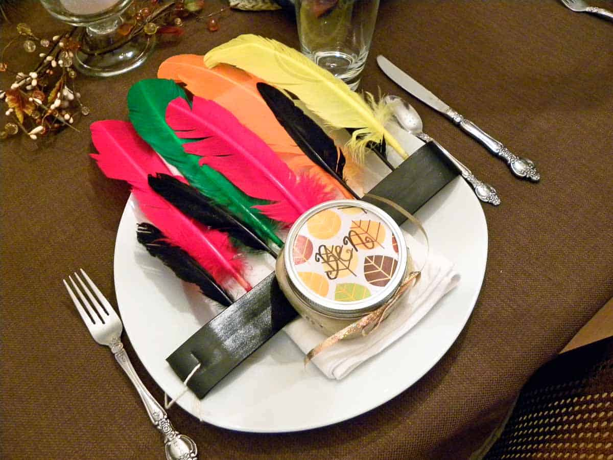 Thanksgiving place setting with feather head band and name holder