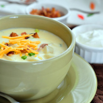 This Loaded Baked Potato Soup is a creamy bowl of delicious flavors from a loaded baked potato that will keep you warm on a cold day.