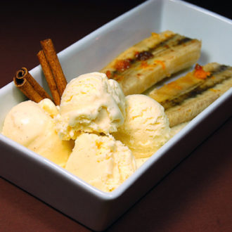 Cinnamon Ice Cream recipe served with Baked Bananas for the ultimate dessert!