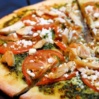 Fresh Basil Pesto is the star ingredient in this Chicken Pesto Pizza recipe.