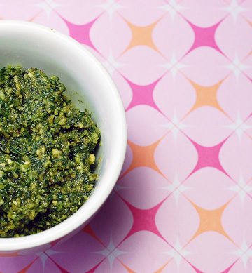 Make a homemade Fresh Basil Pesto to save money and use in various recipes.