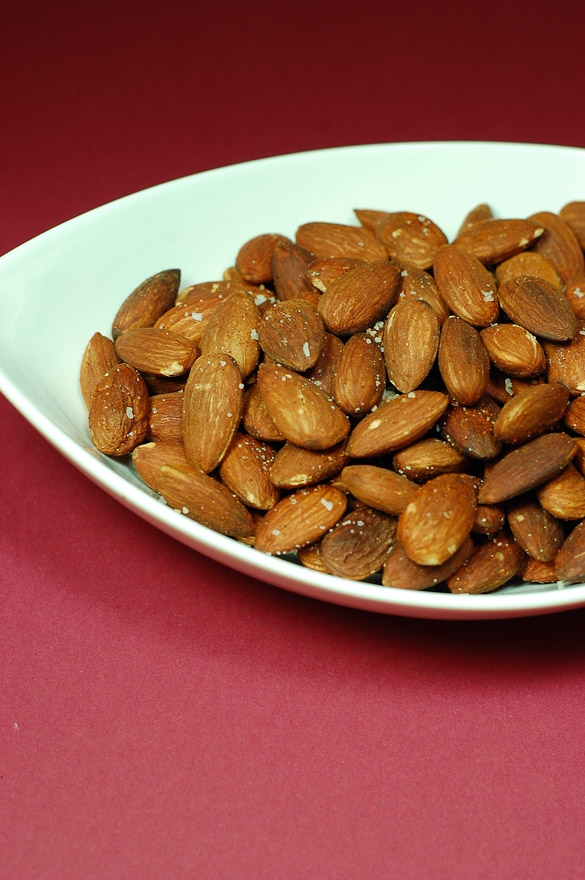 How to roast almonds in the oven for Salted Roasted Almonds.