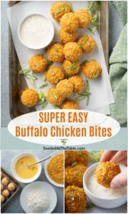 pinterest collage for buffalo chicken cheese bites