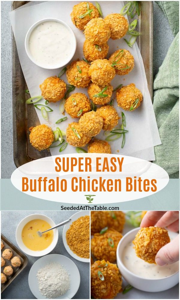 These buffalo chicken bites are an appetizer favorite!  All the flavors of buffalo chicken dip rolled into balls and baked with a crispy cornflakes coating.