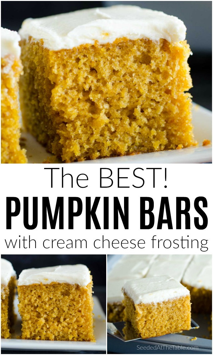 This pumpkin bars recipe is tried and true in our family for over 15 years! The BEST tender and moist pumpkin bars with cream cheese frosting!