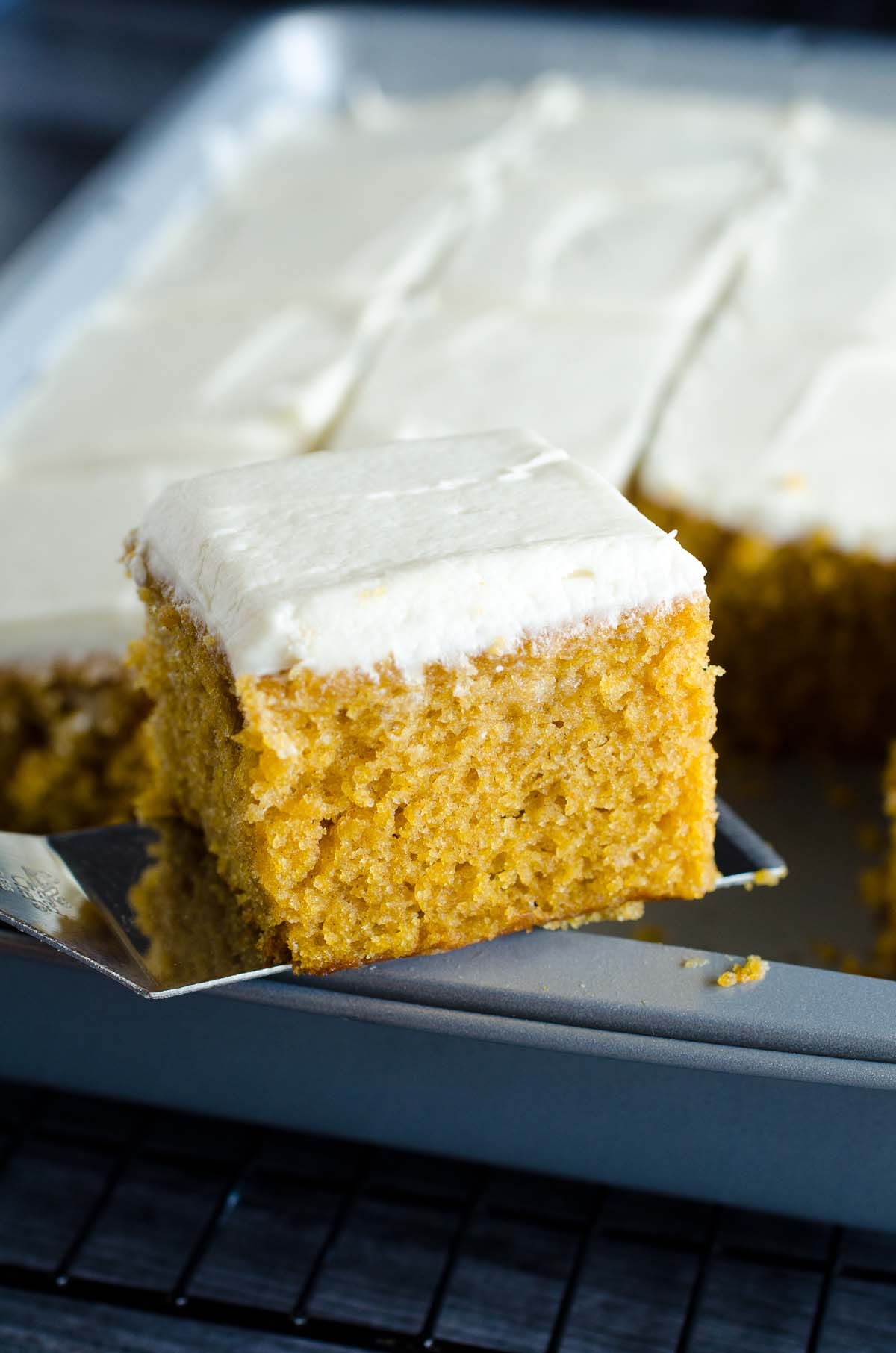 slice of pumpkin cake from pan
