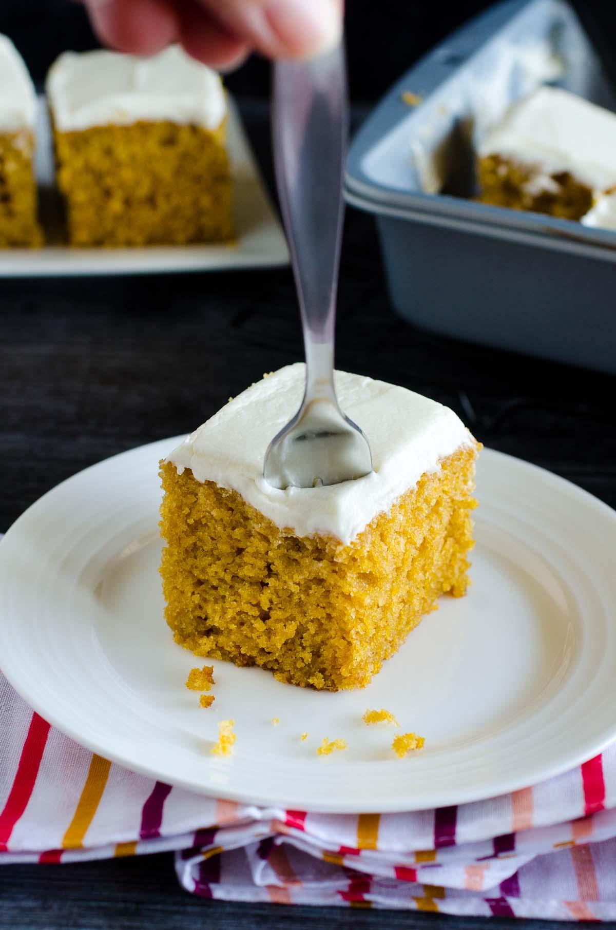 fork in pumpkin bar on plate