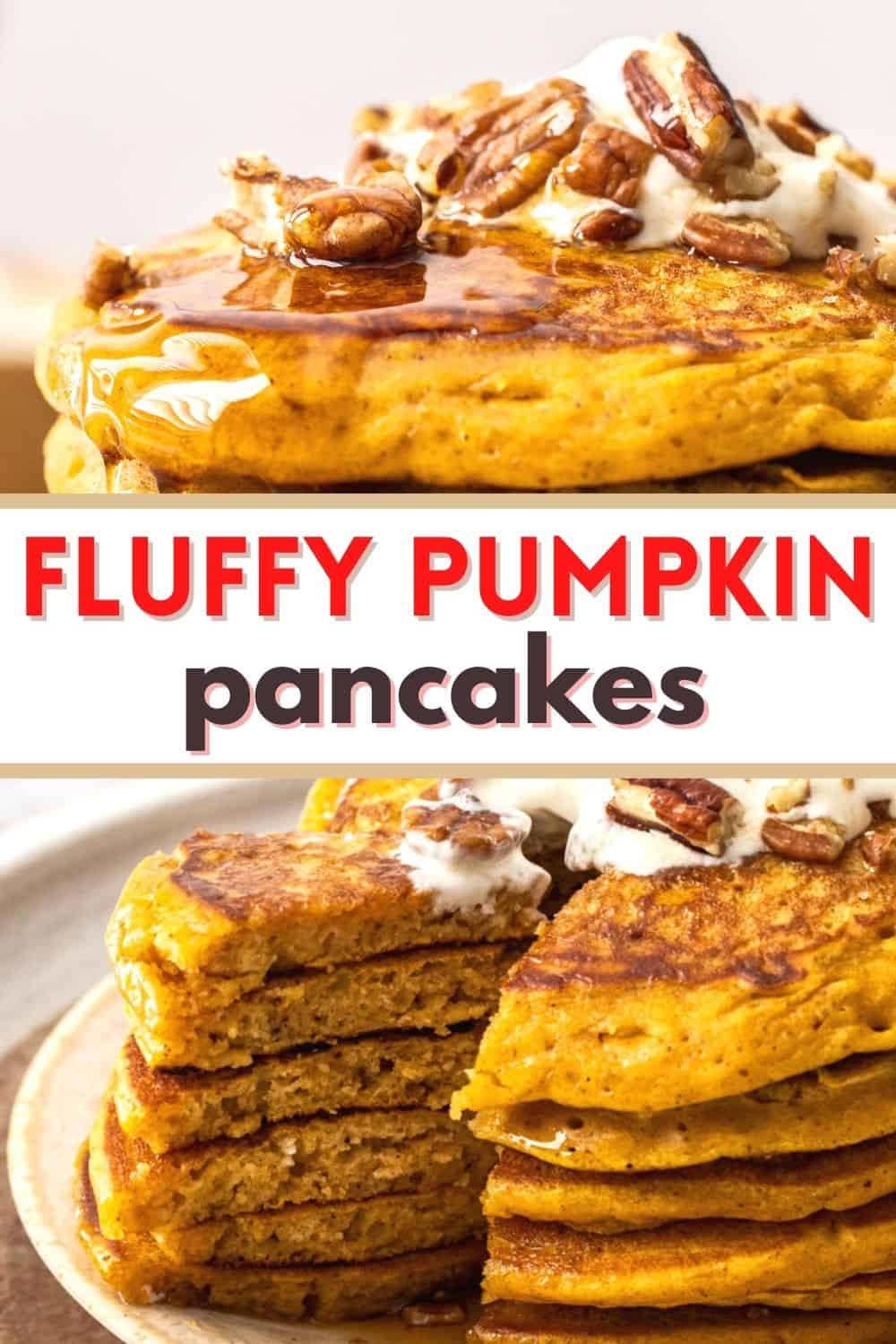 These thick and fluffy pumpkin pancakes are so moist and delicious! Dust with cinnamon sugar or maple syrup and a sprinkle of toasted pecans to warm up a chilly morning breakfast!