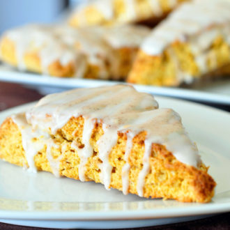 A copycat recipe of Starbucks' Pumpkin Scones. These pumpkin scones are easy to make and super tasty with your coffee!