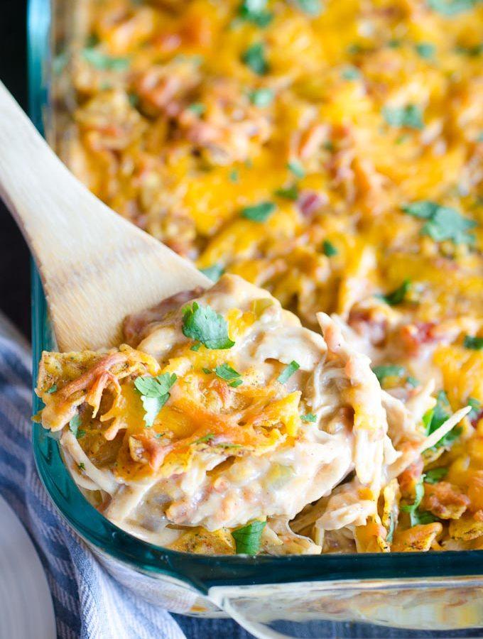 scoop of cheesy chicken casserole