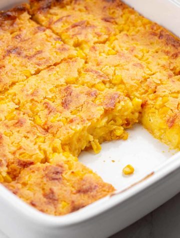 corn casserole slices in pan