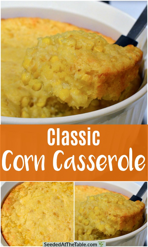Collage of corn casserole scooped from dish.