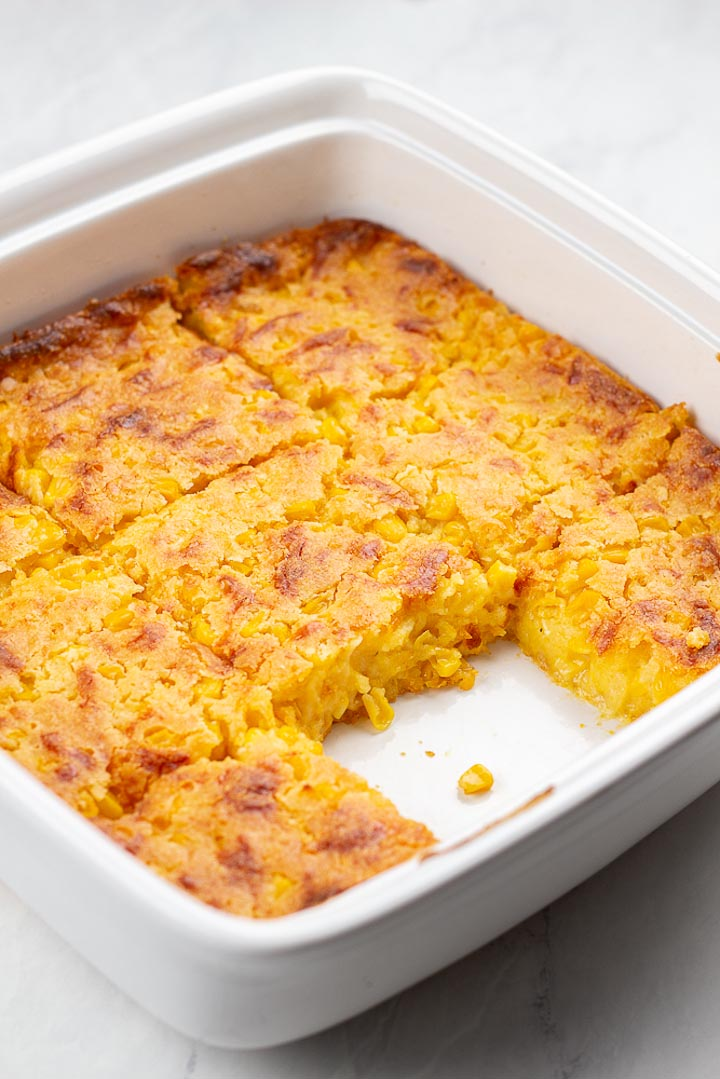 corn casserole sliced in square pan