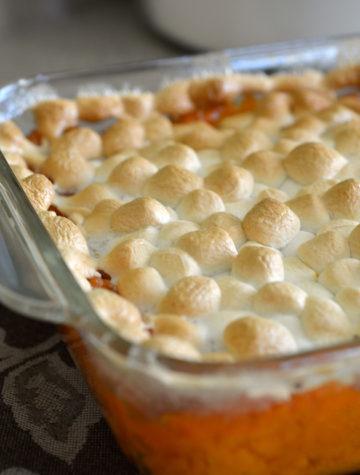 sweet potato casserole with mini marshmallows toasted on top
