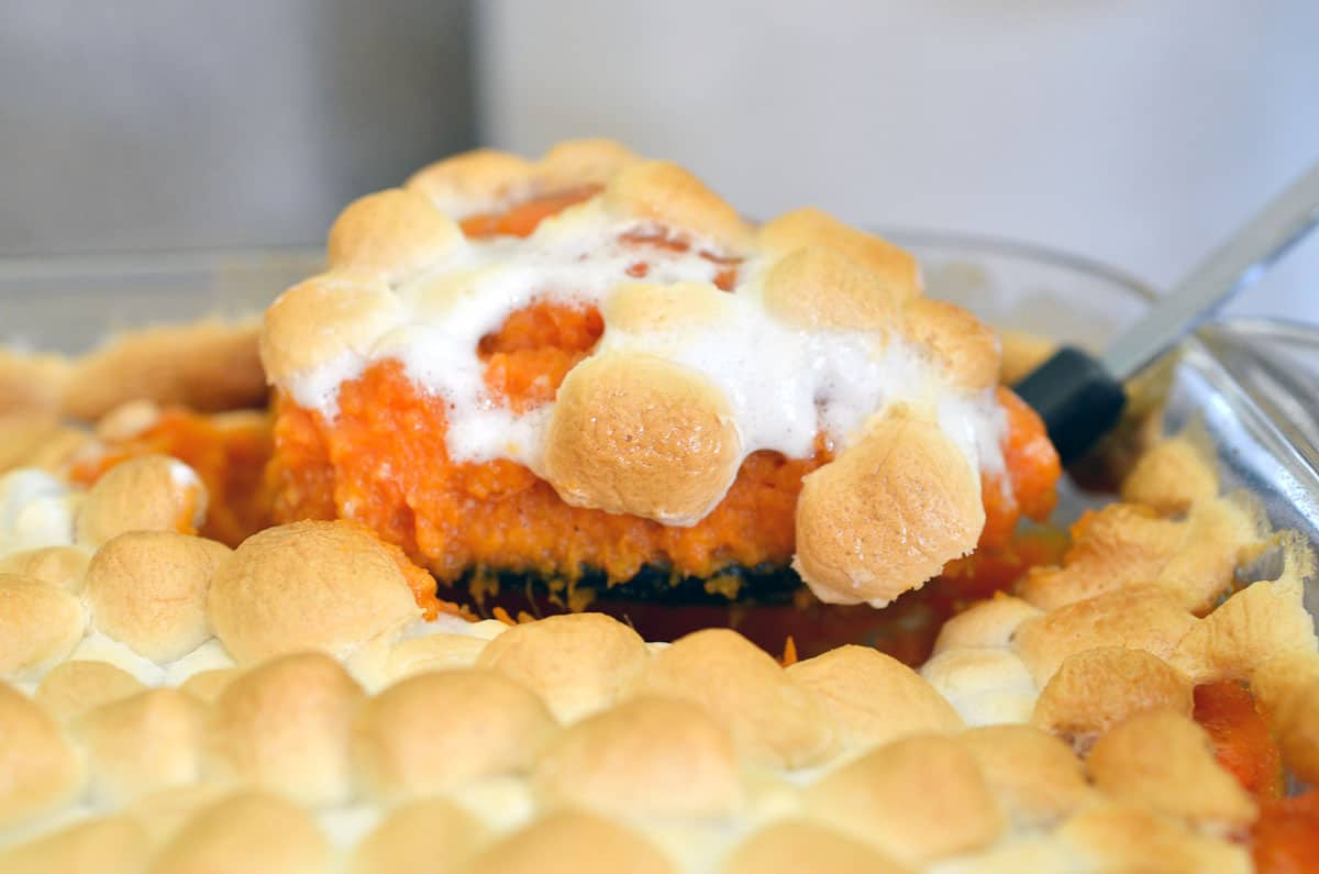 sweet potato pie with marshmallows in casserole dish
