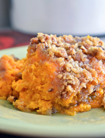 The crispy pecan streusel topping makes this Sweet Potato Casserole the ultimate Thanksgiving side dish. It even beat the test over the classic toasted marshmallow version. Your guests will go crazy for this Sweet Potato Casserole with Pecan Streusel Topping!