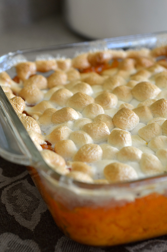 sweet potato casserole with mini marshmallows toasted on top