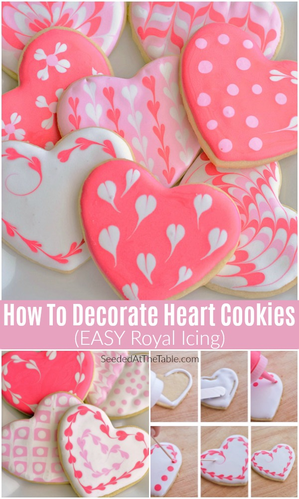 These Sugar Cookie Hearts with EASY royal icing are done in just a few steps using toothpicks! You won't believe how simple it is to create such beautiful heart designs on your sugar cookies.