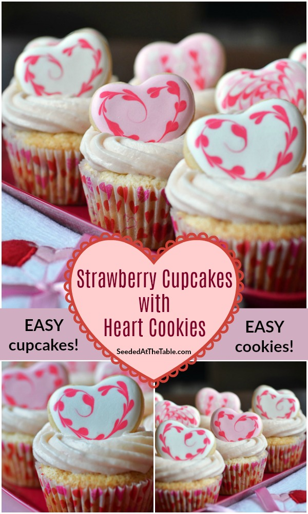 Our favorite recipe for strawberry cupcakes, topped with sugar cookie hearts!  The perfect Valentine's Day dessert.