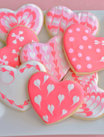 plate of decorated heart cookies