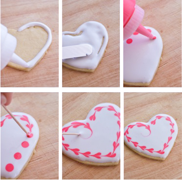 collage of sugar cookie heart with royal icing