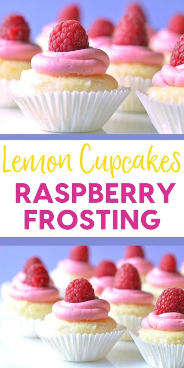 These lemon cupcakes with raspberry frosting are a refreshingly light and fruity dessert!