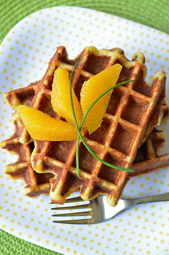 Cheese, Ham and Chive Waffles