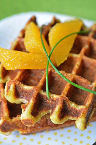 Cheese, Ham and Chive Waffles2