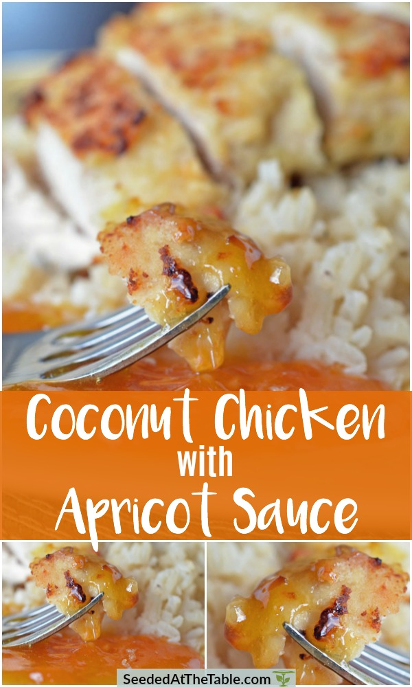 This Coconut Chicken with Apricot Sauce comes together in a SNAP!  The chicken is simply coated in a crispy coconut crust, then served with a 2-ingredient sweet and sour apricot sauce.  A perfect QUICK weeknight dinner!