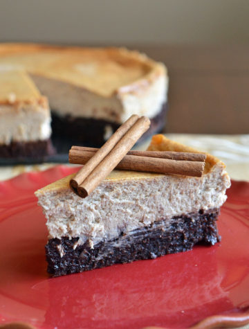 This Mexican Brownie Bottom Cheesecake is the BEST Cinco de Mayo dessert. A Mexican spiced brownie is topped with an easy homemade cheesecake. You can't go wrong with brownies AND cheesecake!