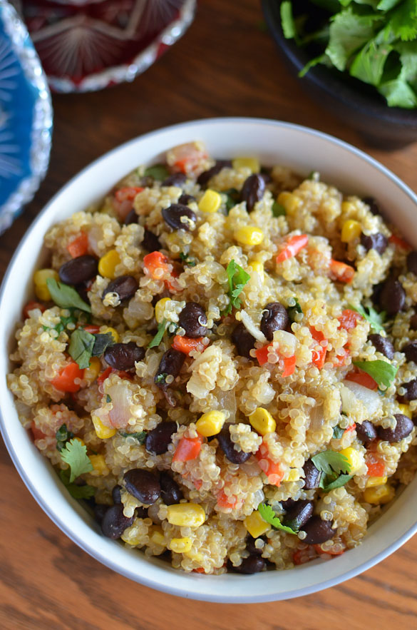 Southwest Black Bean Quinoa - the perfect Tex-Mex side dish easily prepared for serving warm or as a cold salad. Use in taco bowls or a side dish for tacos!