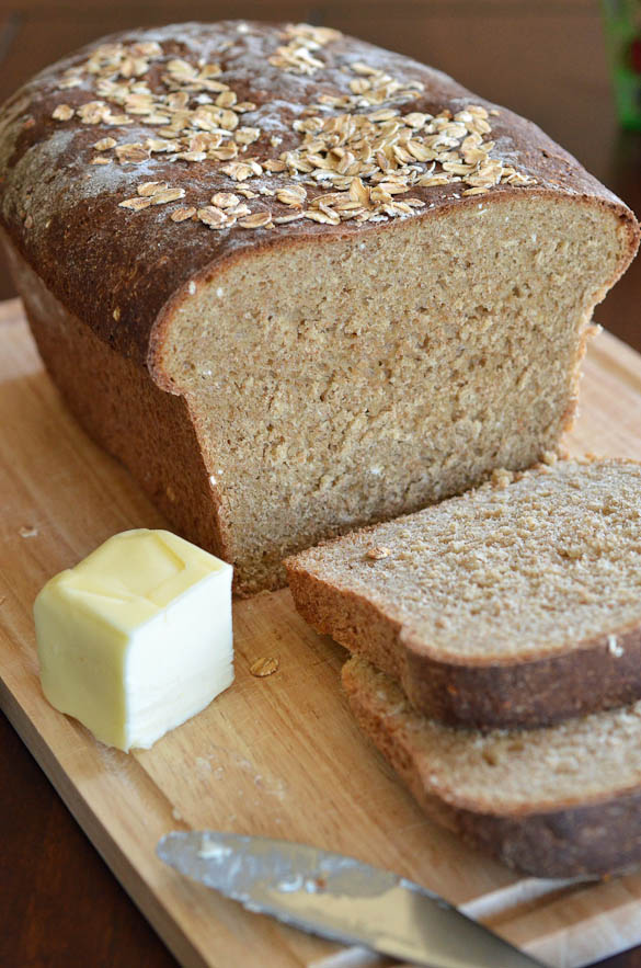 Whole Wheat Oatmeal Bread - This homemade sliced bread is a hearty bread with a hint of sweetness from the small addition of honey and molasses. I love it simply toasted with butter.
