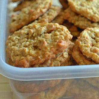 Container of oatmeal butterscotch cookies.