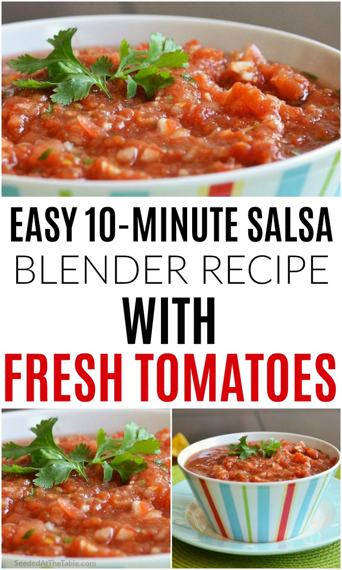 Make this fresh tomato salsa recipe with only 10 minutes of prep. Toss all ingredients in the blender, that's it!