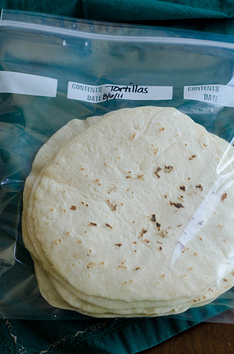 Tortillas in labeled freezer bag