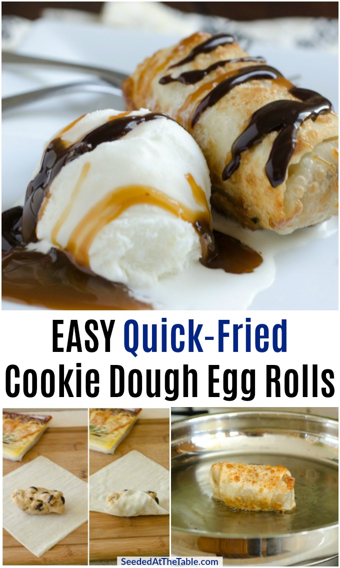 This eggless cookie dough is quickly fried in an egg roll wrapper then served warm with ice cream and syrups. An easy stove-top dessert during hot summer months!