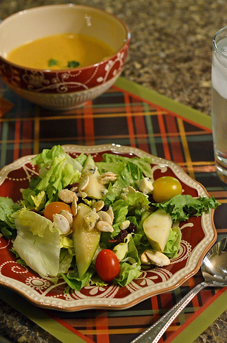 Adrienne's Pear Salad and Pumpkin Soup