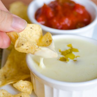 Queso Blanco - the recipe for white cheese dip from your favorite Mexican restaurant. White American cheese melted just 5 minutes in the microwave and you have your favorite chips and cheese dip ready!