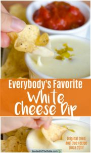 Collage of dipping chip into bowl of white cheese dip.