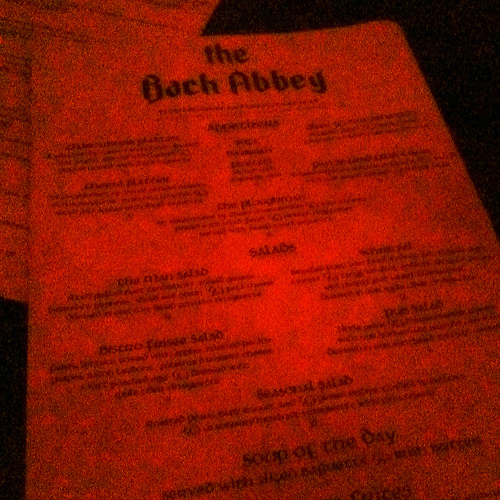 back abbey menu