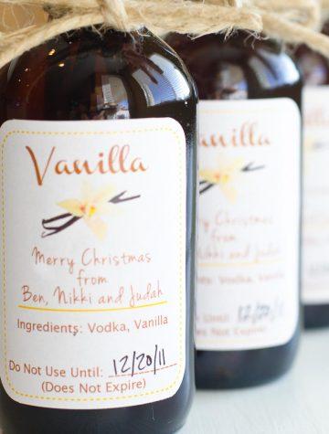 small amber bottles of homemade vanilla
