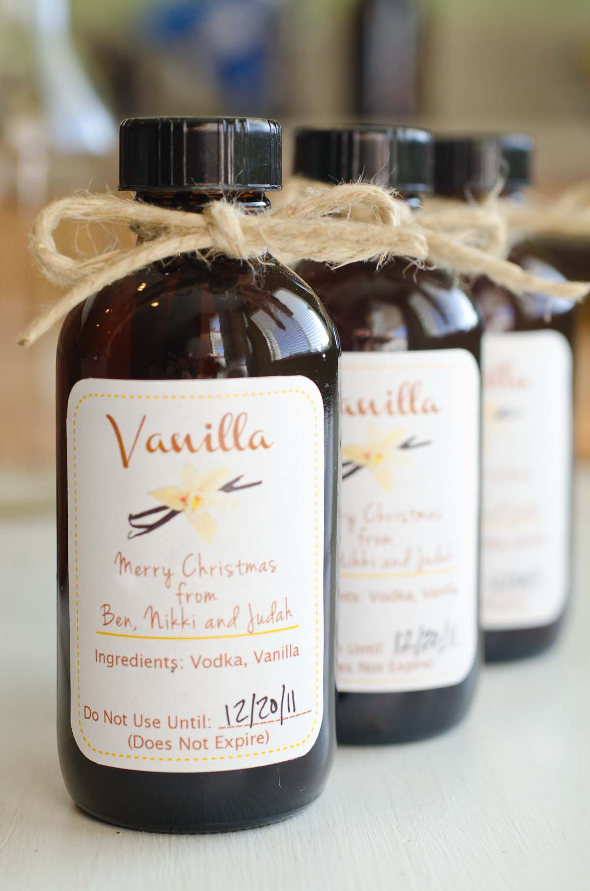 small amber bottles of homemade vanilla extract