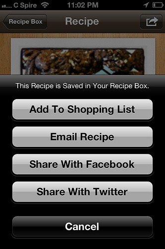 ziplist save to recipe box